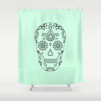 sugar skull Shower Curtains featuring Sugar skull by Anna Lindner
