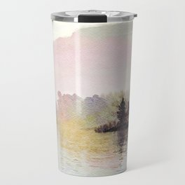 Pines along the Lake in the Mist, Lake District, UK. Watercolor Painting Travel Mug