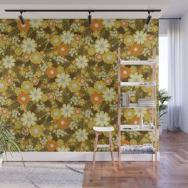 1970s Retro/Vintage Floral Pattern Wall Mural
