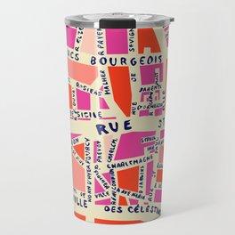 paris map pink Travel Mug