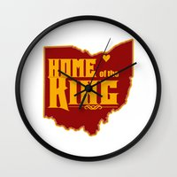 lebron Wall Clocks featuring Home of the King (White) by Denise Zavagno