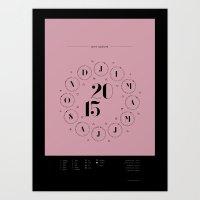 calendar 2015 Art Prints featuring 2015 Lunar Zodiac Calendar by marstan