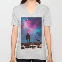 People of the Universe-Nomad and Dog-Purple Unisex V-Neck