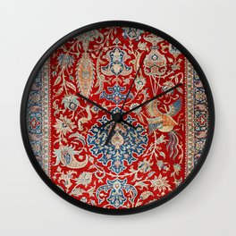 Turkey Hereke Old Century Authentic Colorful Royal Red Blue Blues Vintage Patterns Wall Clock
