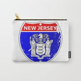 New Jersey Flag Icons As Interstate Sign Carry-All Pouch
