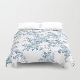 Vintage blue white bohemian elegant floral Duvet Cover