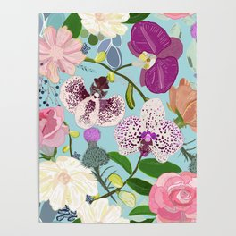 Orchid, Succulent and Roses Colorful Pattern Poster