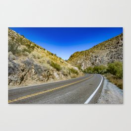 Highway Road Cutting through the Mountains in the Anza Borrego Desert, California, USA Canvas Print