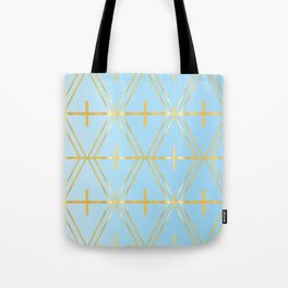 Golden Blue Fretwork Tote Bag