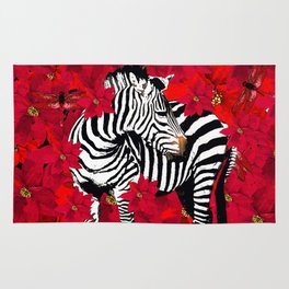 ZEBRA AND FLOWERS Rug