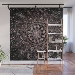Elegant rose gold mandala dots and marble artwork Wall Mural