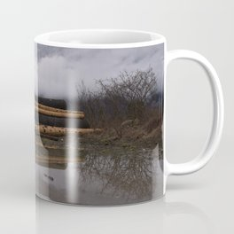 Timber Logs With A Foggy Mountain View Coffee Mug