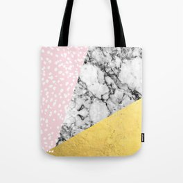 Trini - abstract painting texture gold pastel pink marble trendy hipster minimal art design bklyn  Tote Bag