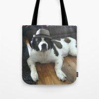 jenna kutcher Tote Bags featuring Jenna by Pop Art Pet Portraits