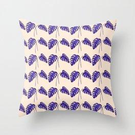 Indigo Monstera Leaf Watercolor on Blush Throw Pillow