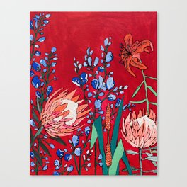 Red and Blue Floral with Peach Proteas Canvas Print