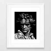 beethoven Framed Art Prints featuring Beethoven by G_Stevenson