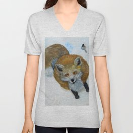 Fox and Chickadee Unisex V-Neck