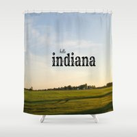 indiana Shower Curtains featuring Hello Indiana by KimberosePhotography