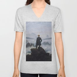 Caspar David Friedrich - Wanderer above the Sea of Fog - 1817 Unisex V-Neck