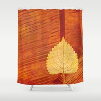 lonely Shower Curtains featuring Lonely Leaf by Klara Acel