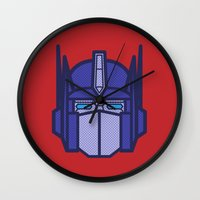 optimus prime Wall Clocks featuring Optimus Prime by M. Gulin