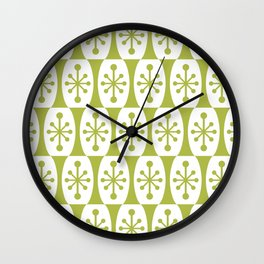 Mid Century Modern Atomic Fusion Pattern Chartreuse Wall Clock