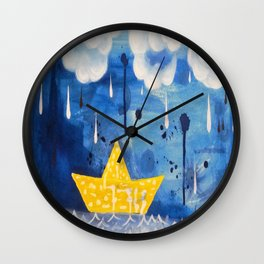 Sailing in the storm Wall Clock