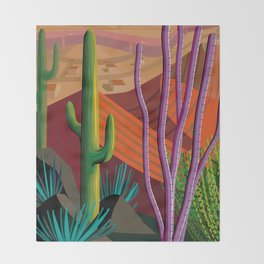 Cactus on Mountaintop Throw Blanket