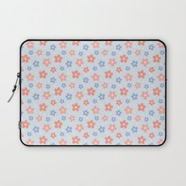 Blue Pink Flower Pattern Laptop Sleeve