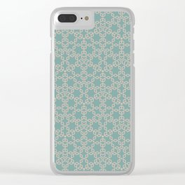 Mint and Cream Pastel Star Pattern Clear iPhone Case