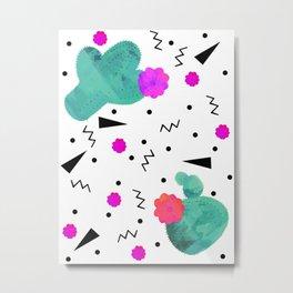 Hello Cactus White Background Metal Print