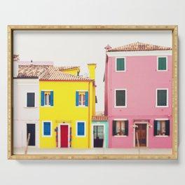 Get Happy - Burano Italy Travel Photography Serving Tray
