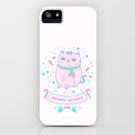 pink cat christmas gift idea girl meowy catmas iPhone Case