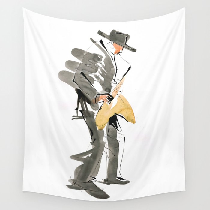 Musician Jazz Saxophone Wall Tapestry