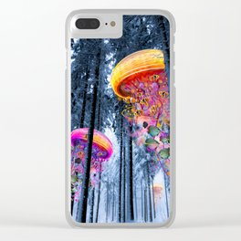 Winter Forest of Electric Jellyfish Worlds Clear iPhone Case