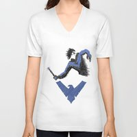 nightwing V-neck T-shirts featuring Nightwing by dudesweet