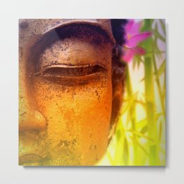 Bright & Vibrant Buddha & Bamboo Metal Print