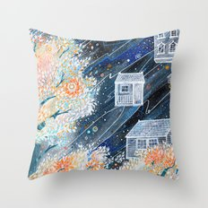 Night Houses Throw Pillow