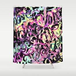 Love Black Multicolore Shower Curtain