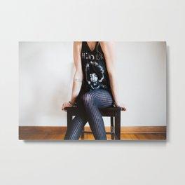 Woman In Jimi Hendrix Shirt Metal Print