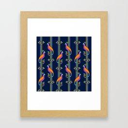 Vintage Art Deco Birds and Stripes Pattern Framed Art Print