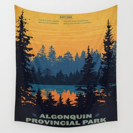 Vintage Algonquin Canada Travel Poster Wall Tapestry