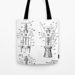 Cork Screw Patent - Wine Art - Black And White Tote Bag