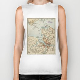 Vintage Map of Norfolk and Portsmouth VA (1919) Biker Tank