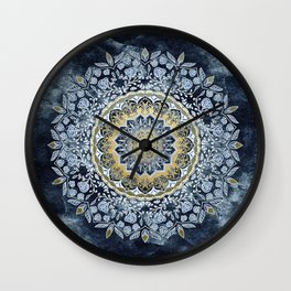 Blue Floral Mandala Wall Clock
