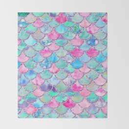 Colorful Pink and Blue Watercolor Trendy Glitter Mermaid Scales  Throw Blanket