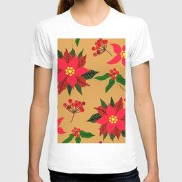 Winter Floral, Christmas Stars T-shirt