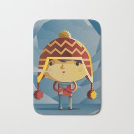 cute kid in the winter with a coy cap Bath Mat