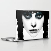 hair Laptop & iPad Skins featuring Wakeful Warrior - In Blue by Ruben Ireland